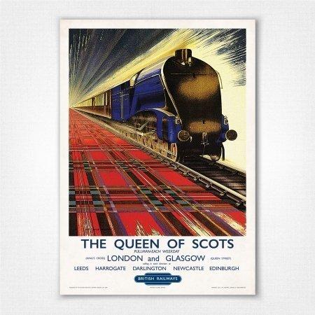 Vintage Railway Poster Scot Passes Scot de Grineau LMS Travel london edinburgh
