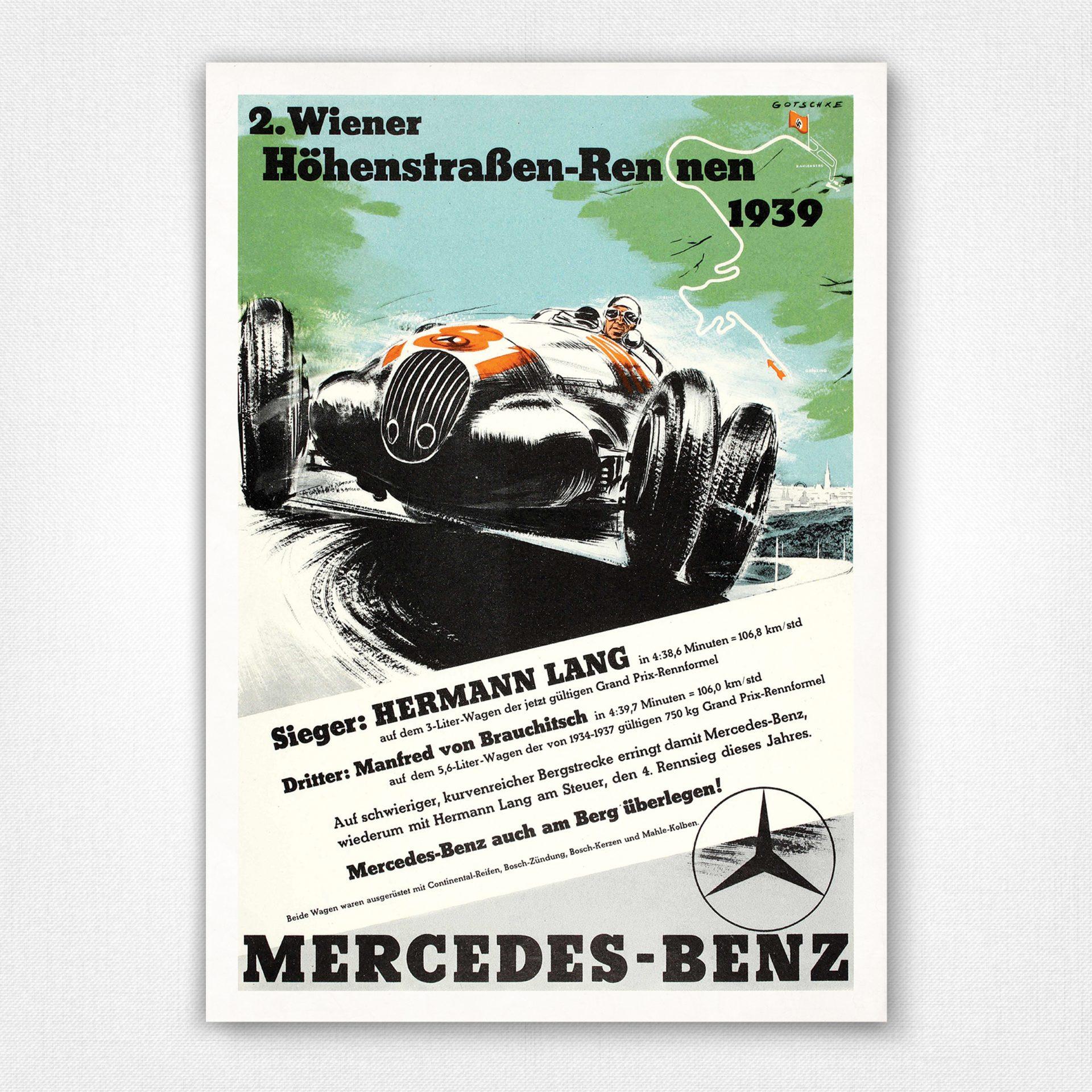 Poster Brooklands 500 mile Wall art Reproduction. 1937 motor racing advert